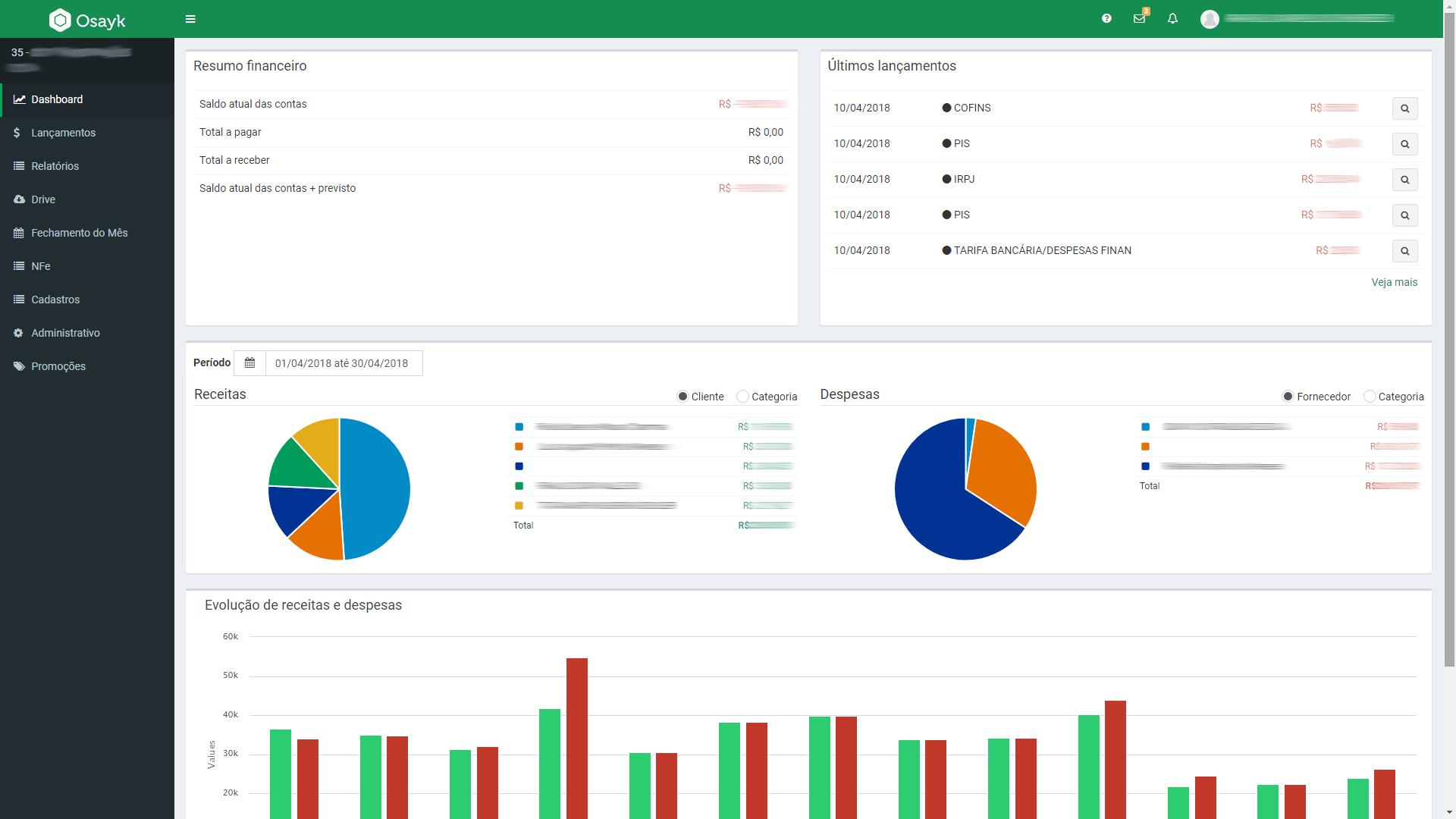 Plataforma do Cliente - Gestão Financeira